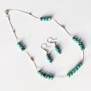 Jewelry - Silver & Turquoise Stone Necklace / Earrings Set